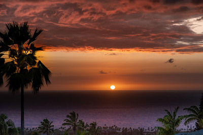 Tropcial Hawaiian Sunset in Kona, Big Island, Hawaii Island