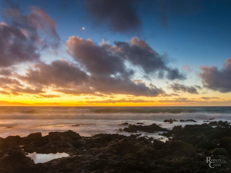 Hawaiian Crescent Moon Sunrise