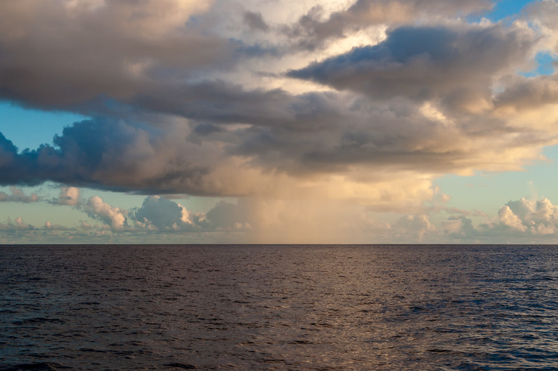 Isolated Sunset Rain Over the Pacific Ocean