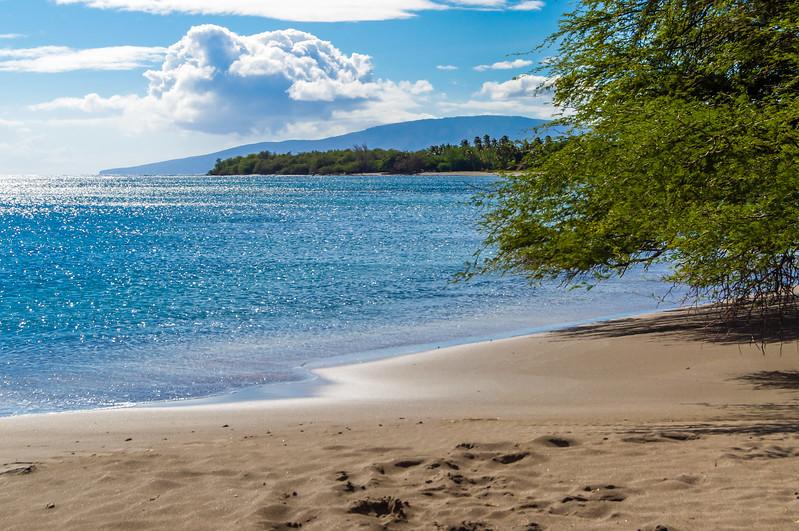 Lanai Lurks Behind the Island of Maui's Beach