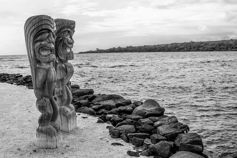 Tiki Statues Guard the Place of Refuge
