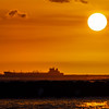 Sunset Over Freighter in Oahu