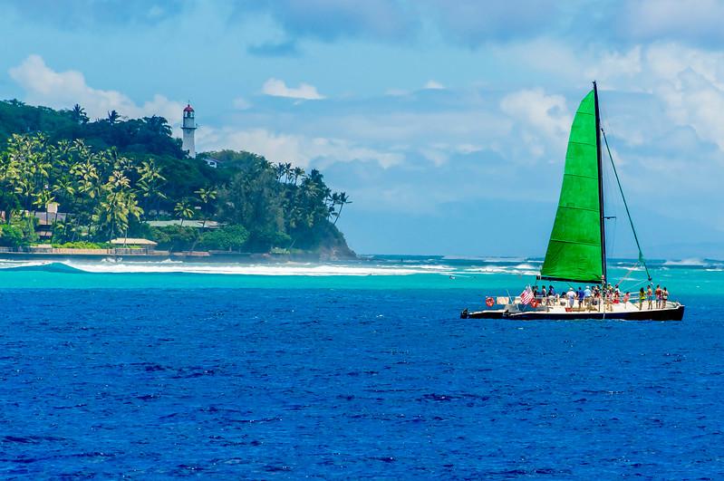 Sailboat off of Diamond Head