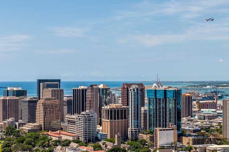 Plane Flying Over Honolulu