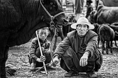 Boy and his Father at the Market