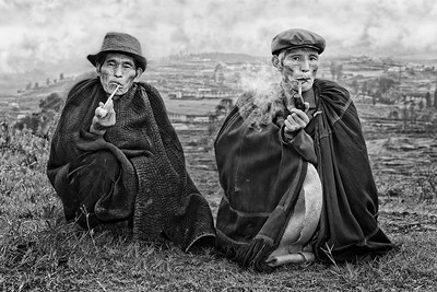 Yi Farmers Smoking Traditional Pipes