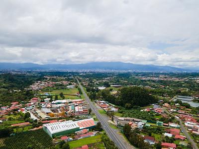 Aerial View of Ruta 32, San Luis, Heredia and San Jose, Costa Rica