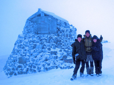 At 1,344m, the highest point in all of Britain! The snow was so deep the ruined stone buildings nearby were more than half buried. We dared not take our hands out of our gloves to check our thermometer, for the next hour. With the wind chill it was at least -15C.