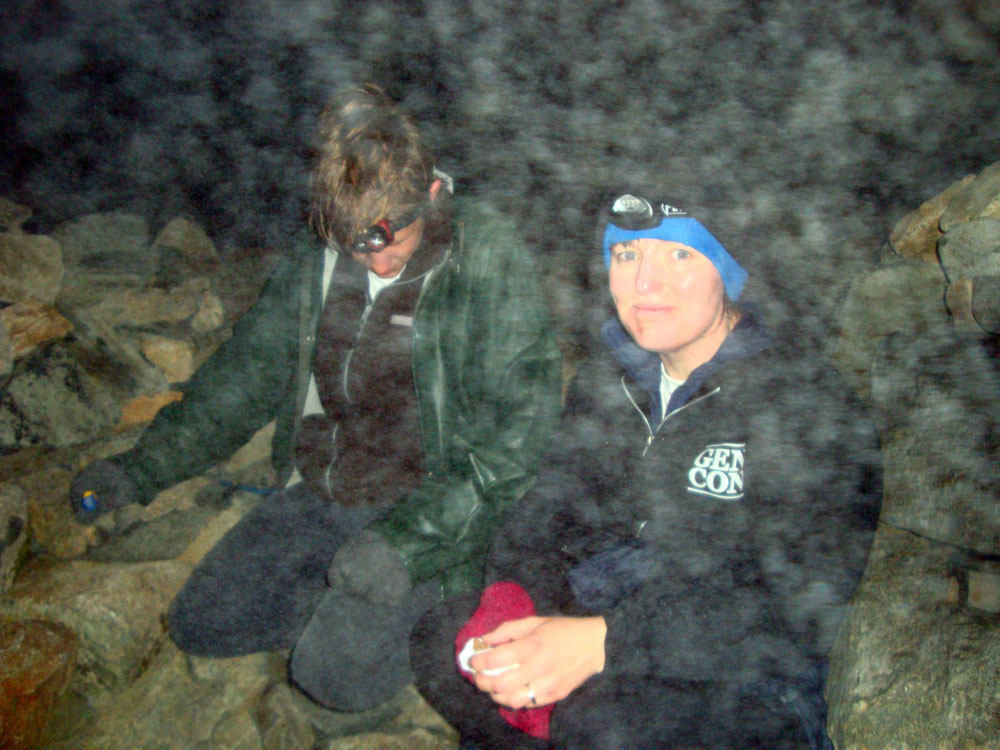 The summit cairn led us on a not-so-merry dance (exhausted stagger, actually), somewhere around 10:30 pm, through pea-soup fog, but we found it eventually.