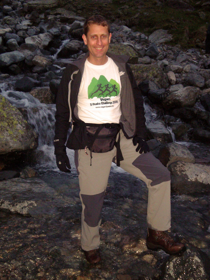 Which worked! Andrew Knight marches his waterproof vegan boots from Vegetarian Shoes happily across a stream on the way up Scafell Pike.