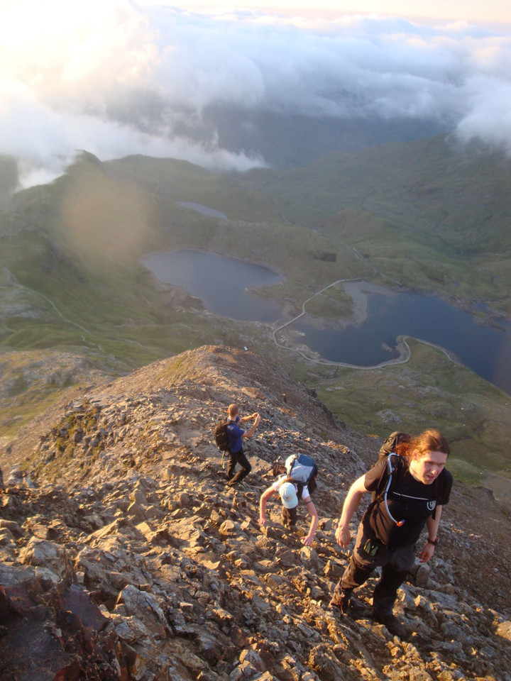 Next, we tackled the Vegan 15 Peaks Challenge - climbing all 15 3,000 foot Welsh peaks in the same 24 hours. Dawn found us climbing the infamous knife-edged Crib Goch.