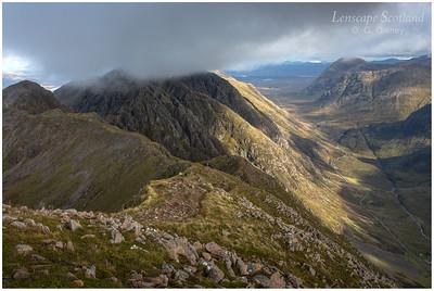 Aonach Eagach ridge and Glen Coe from Sgorr nam Fiannaidh