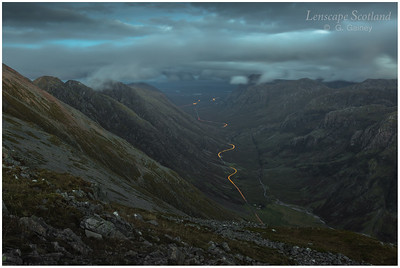 Car headlight trails in Glen Coe (1)