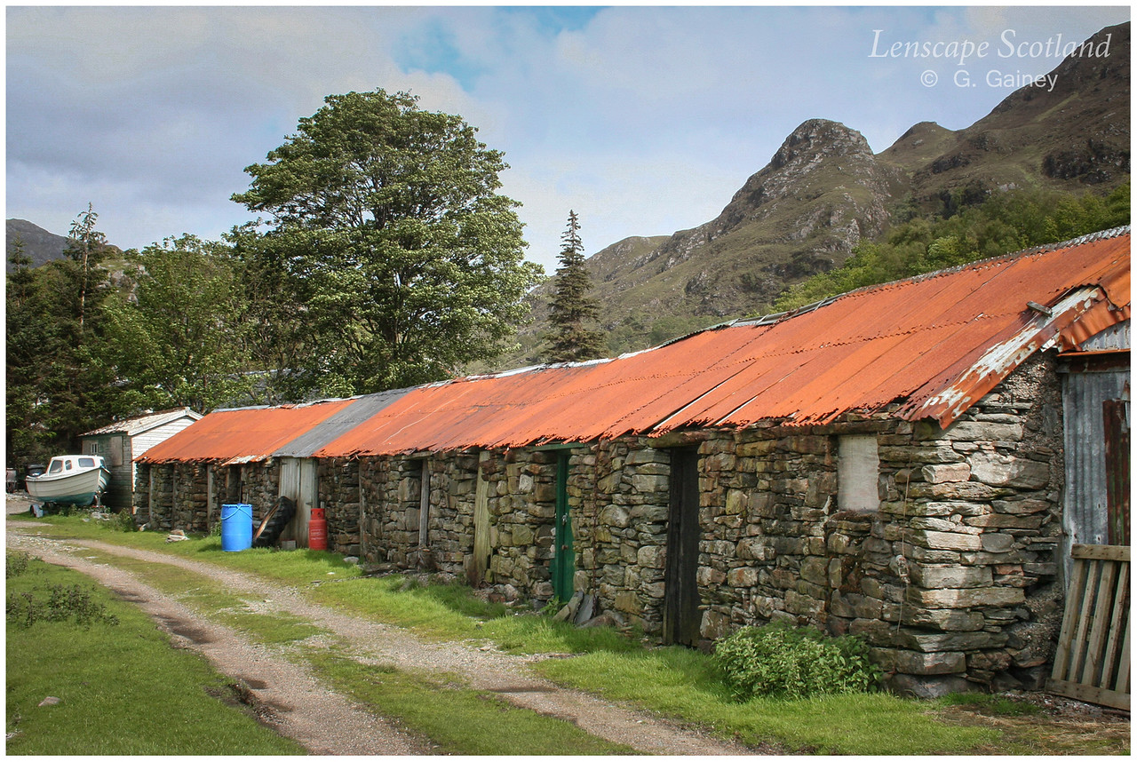 Old byres with corrugated iron roofs, Corran