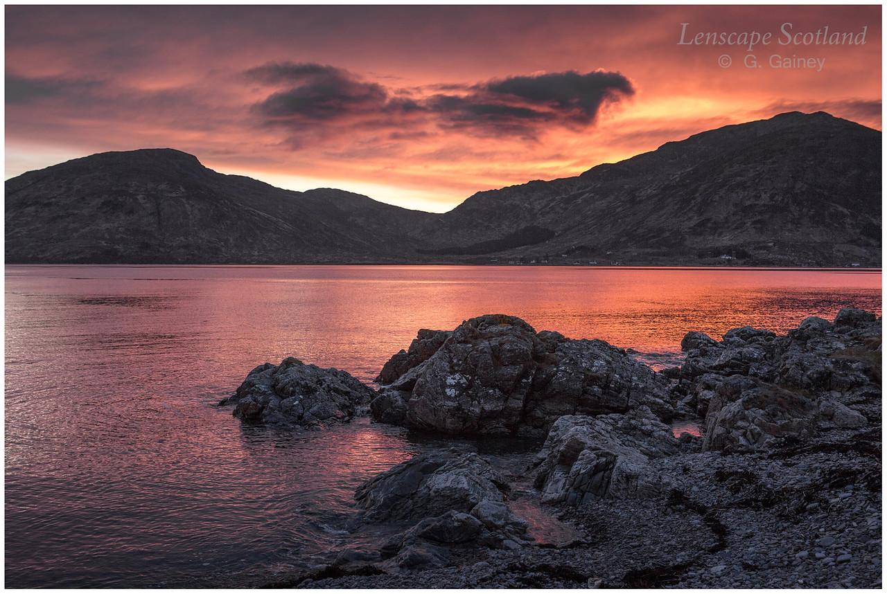 Sunset over Sgurr na Coinnich, Skye, from Glenelg