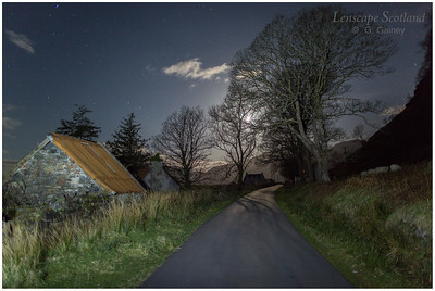 Road through Galltair to Kylerhea ferry, on a moonlit night