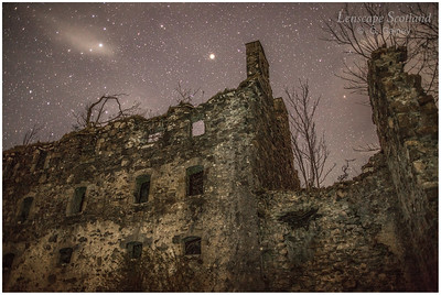 Bernera Barracks ruins, at night