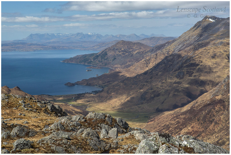 Beinn Sgritheall and the Cuillins of Skye from Druim Fada