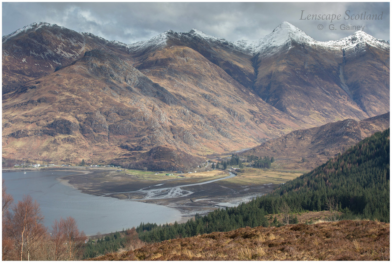 Shiel Bridge and the Five Sisters of Kintail from Bealach Ratagain