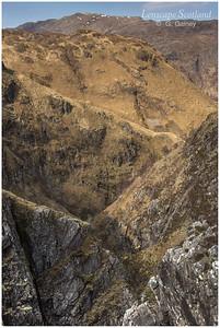 incised terrain below the Falls of Glomach