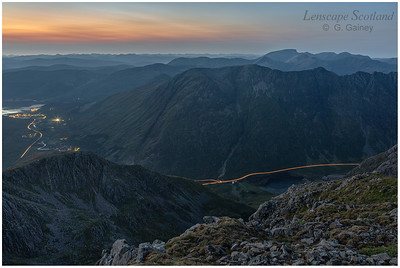 Headlight trails in Glen Coe, from Stob Coire nam Beith