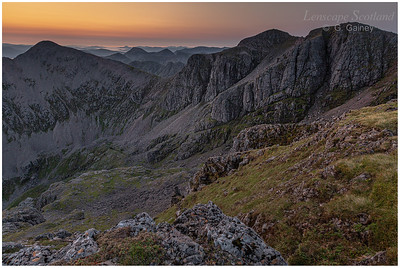 Dawn breaking over Stob Coire nan Lochan and Bidean nam Bian from Stob Coire nam Beith