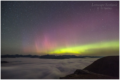 Aurora Borealis and valley fog from Beinn Dorain, Bridge of Orchy