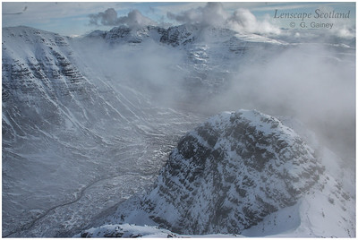 Beinn Dearg, Liathach and Horns of Alligin under snow, Torridon