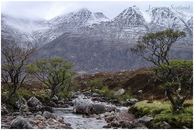 first snow of the season on An Teallach, from Gleann na Muice, Dundonnell