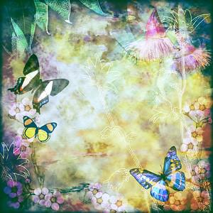 Vintage Australian floral butterfly design