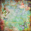 Vintage pastel wood textured floral butterfly design