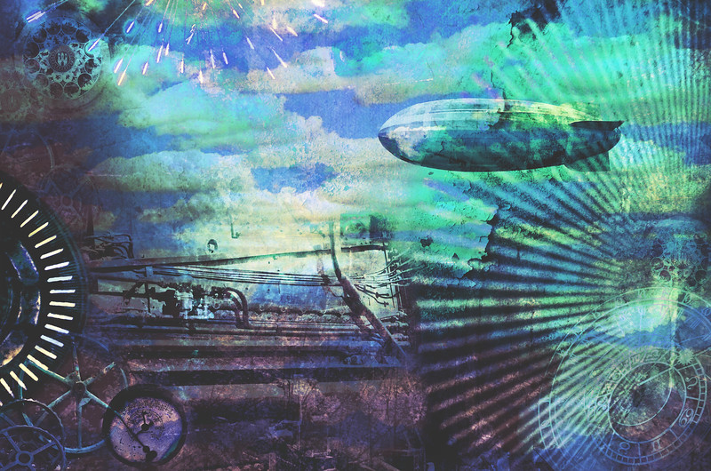 Steampunk Cloudscape Collage