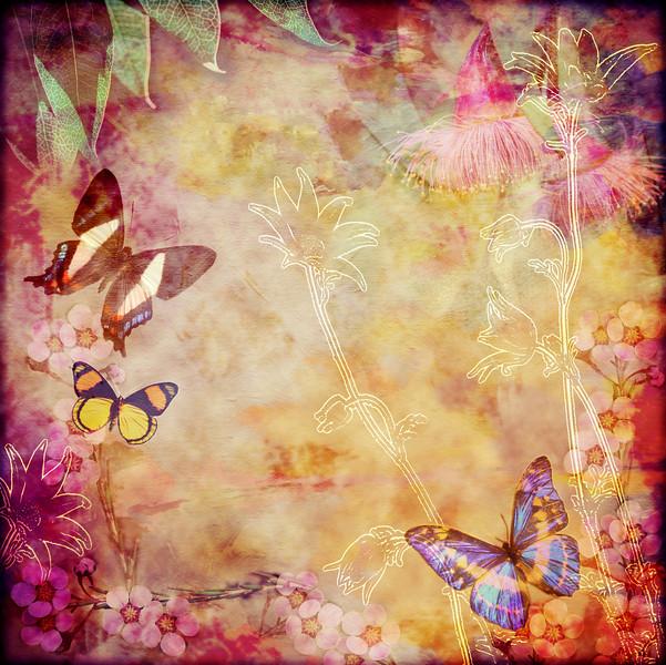 Vintage floral butterfly design