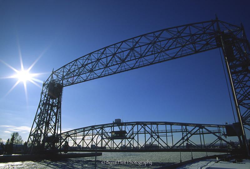 S.2292 - Aerial Lift Bridge in winter, Duluth, MN.