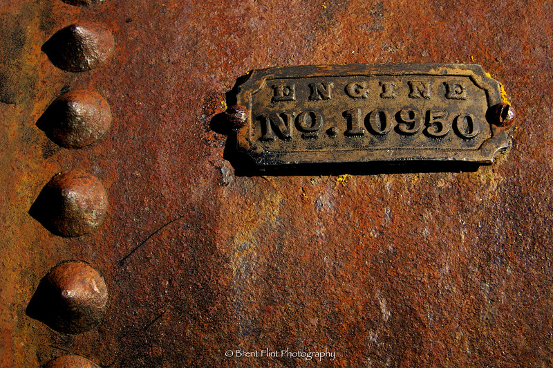 DF.319 - engine tag, old steam engine tractor, Old Molsen Ghost Town Museum, Molsen, WA.