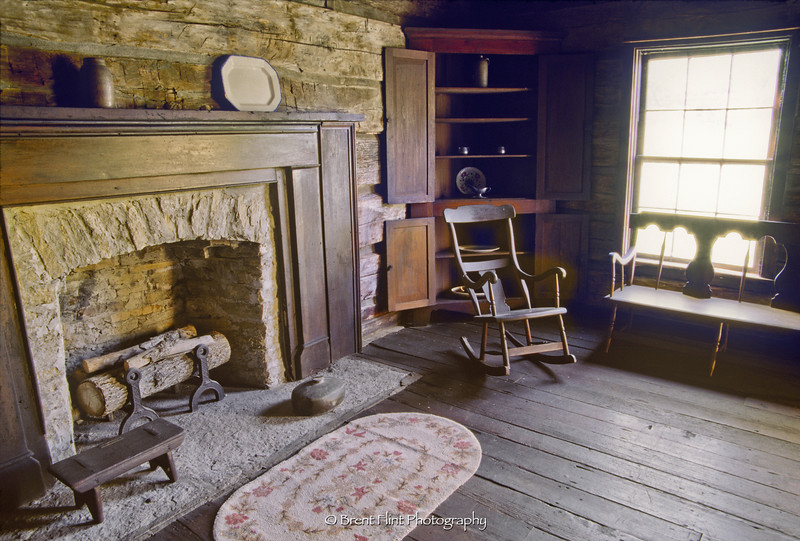 S.2965 - Living room at the Francis Berry House, Lincoln Homestead State Park, KY.