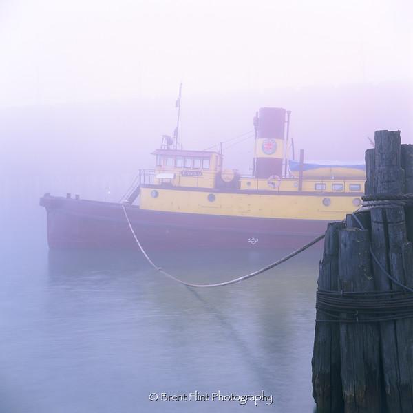 """S.3139 - the """"Edna G"""" in fog, Two Harbors, MN."""