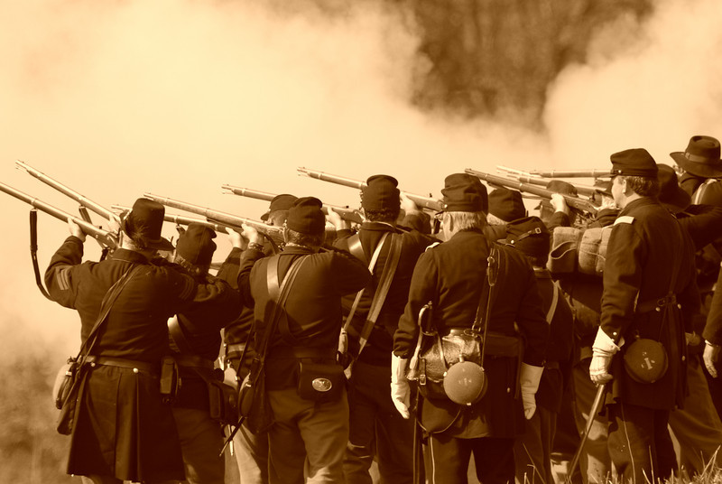 Union Troopers return fire