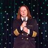 The ship's captain, Serena Melani, kicks off the Christmas entertainment
