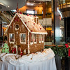 One of multiple gingerbread houses on display but not to be eaten!