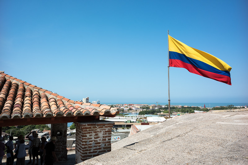 The Columbian flag atop the castle