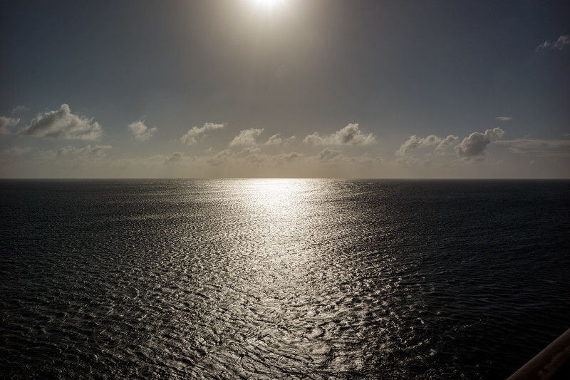Approaching sunset at sea - January 2