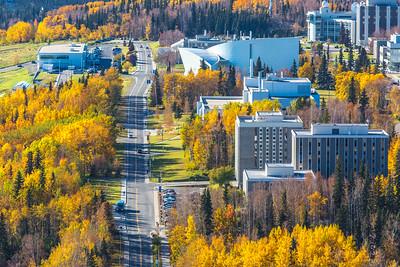 Aerial photo of the Fairbanks campus.