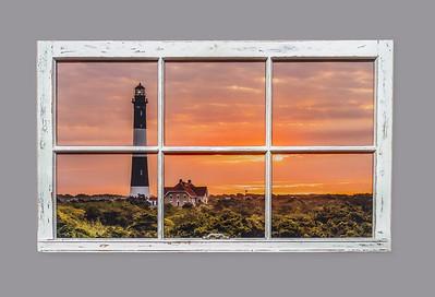 2009 Fire Island Lighthouse Sunrise Resin Window