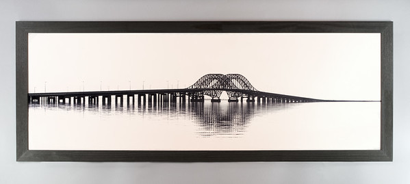 Captree Bridge Panoramic Framed Metal Print