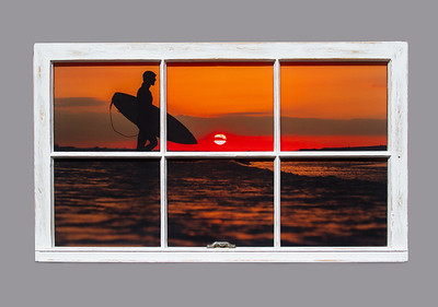 Gilgo Beach Sunset Surfer WIndow