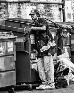 The Street - Homeless man digging through dumpster - 8379