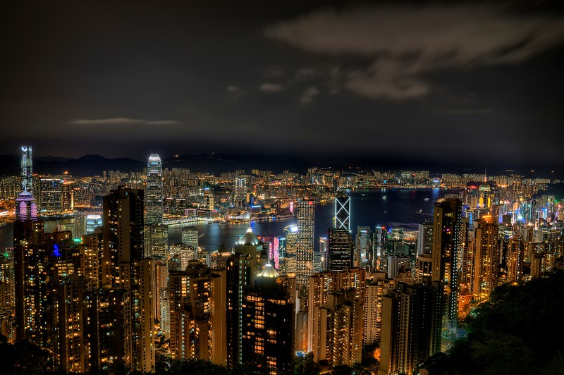 Hong Kong Peak at Night