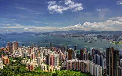 View over Sheung Wan to Stonecutters Island & West Kowloon, Hong Kong