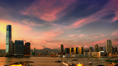 Hong Kong Harbour & Kowloon Dusk Panorama